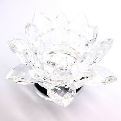 Large Crystal Cut Lotus Rotating Ornament Flower With Gift Box Clear Colour • 10.99£