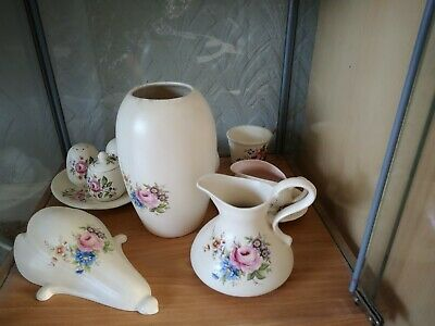 Axe Vale Pottery Collection Of Genuine Axe Vale Pink Flower Design.  • 20£