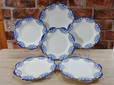 Rare 6 Antique Aynsley Victorian Embossed White And Blue Plates Flow Blue • 29.95£