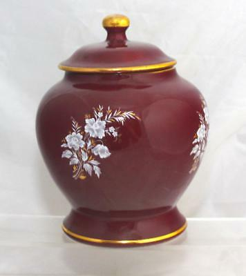 Prinknash Abbey Pottery Floral Pattern Ginger Jar Glazed In Maroon & Gold • 5.95£