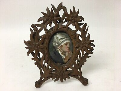 Hand Painted KPM? Porcelain Plaque In Black Forest Carved Wood Frame Edelweiss • 99.95£