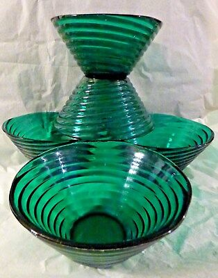 Green  Blown Glass Cereal / Salad Bowls • 9.50£