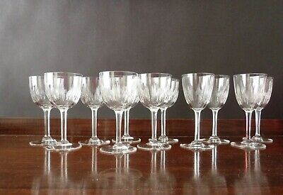 11 Antique Edwardian Cut Crystal Port And Sherry Glasses, H11,2 Cm And 11,6cm • 45£