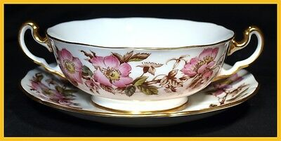 Adderley Briar Rose Soup Coupes & Saucers - In Excellent Condition • 12.99£