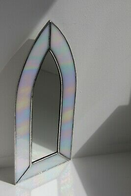 Gothic Arch Stained Glass Hand Made Mirror With White Iridescent Glass • 25£