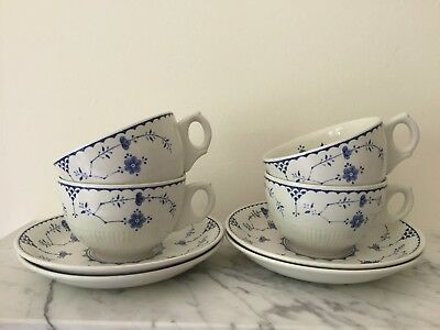 Furnivals Denmark Coffee Cups And Saucers X 4 Blue White • 13.95£