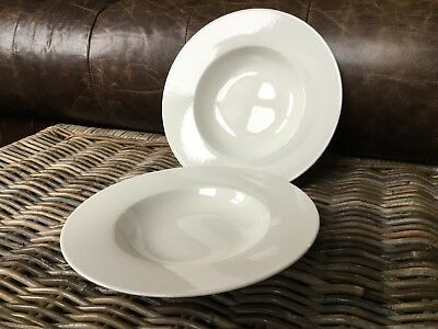Villeroy And & Boch Wide Rimmed Soup Pasta Bowls In White X 2 • 26.99£