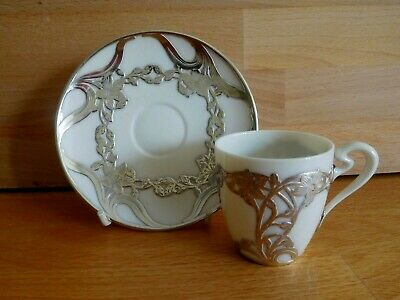 Art Nouveau American Lenox China Silver Overlay Demitasse Coffee Cup And Saucer • 140£