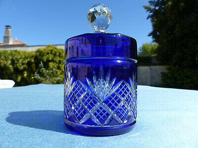 Superb Antique French Baccarat Hand Carved Blue Cut To Clear Box • 97.15£
