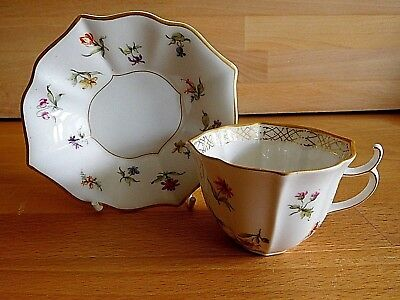 Late 19th Early 20th Century Kpm Berlin Fluted Porcelain Floral Cup And Saucer • 180£