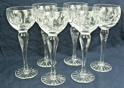 ASCOT  By ROYAL BRIERLEY Set Of SIX Beautiful Tall HOCK WINE GLASSES, Etched  • 39.95£