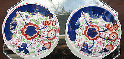 Antique China : A Pair (2) 19th Century Pottery Gaudy Welsh Saucers • 22£