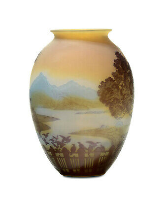 Emile Galle' Vase. Decorated With Landscape. Authentic End 1800. • 2,510£