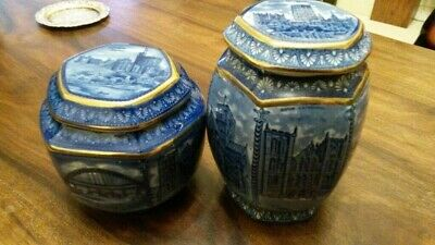 Two VintageCathedrals Hexagonal Small And Large Tea CaddyBlue & White Ringtons • 30£