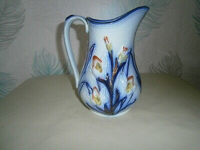 Antique Flow Blue Pitcher Daffodils In Relief, Yellow & Orange Gold Highlights. • 20£