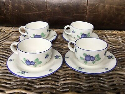 Royal Doulton Everyday Blueberry TC1204 – 4 Cups & 4 Saucers • 14£