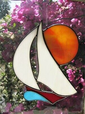 Stained Glass Sailing Boat With Sunset Handmade Suncatcher | Window Decoration • 19.50£
