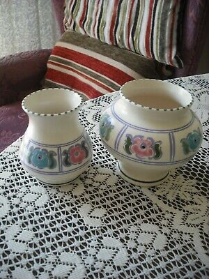Honiton Studio Art Pottery- Two Hand Decorated Matched Design  Vases- See Photo • 5.49£