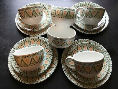 Crown Staffordshire Tunis Design Pattern Cups Saucers Plates Afternoon Tea 1996 • 19.99£