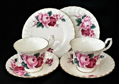 Queen Anne Vintage Tea Cup Saucer & Side Plate X 2 Trios Pink Roses • 17.99£
