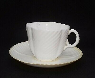 Antique Ceramic/Porcelain Plain White Fluted Cup And Saucer • 3.95£