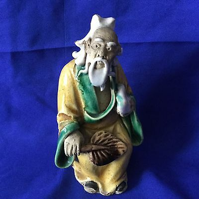Antique / Vintage Chinese Pottery Polychrome Figurine  • 23£