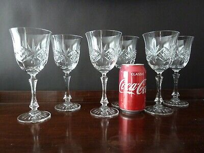 6 Cut Crystal Water/Wine Glasses, Not Signed Galway Crystal?, H19cm (7 ) • 55£