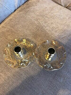 Chance Pilkington Art Glass Candle Holder Gold Lace Pattern • 10£