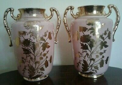 Stunning  Pair Of Antique Pink Gilded Flowers Art Nouveau China Large  Vases  • 32£