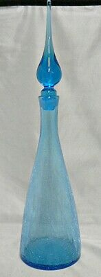 Beautiful Aqua Blue Crackle Glass Decanter With Spire Stopper • 113.24£