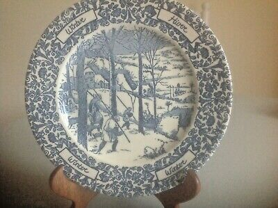Blue And White Vintage Plate Words WINTER & HIVER On Front Winter Scene 9.5    • 16£