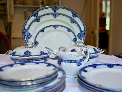 Antique Burgess & Leigh Burleighware Flow Blue Rosette Dinner Service Serves 6 • 399£