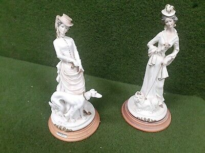 2 X A Belcari  Figurine  Lady With Her Dog     -  Excellent Condition • 24.99£