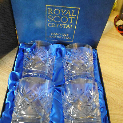 New In Original Box....royal Scot Hand Cut Lead Crystal Whisky  Glasses • 50£