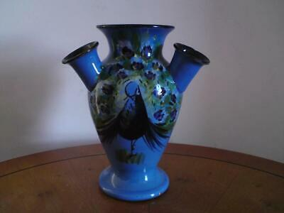 1930s Torquay Daison Art Pottery 'Udder' Vase Decorated With A Peacock • 30£