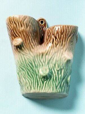 Rare Vintage Art Deco British Arden Flosmaron Wall Pocket Log Pottery Planter • 24.99£