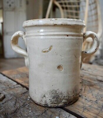 Italian Confit Pot 19th Century Antique Rustic Ironstone • 25£