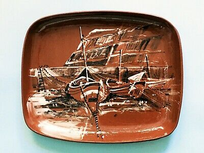 Vintage Fw Marked American Slipware Boats Decor Redware Pottery Loaf Dish Tray • 29.99£