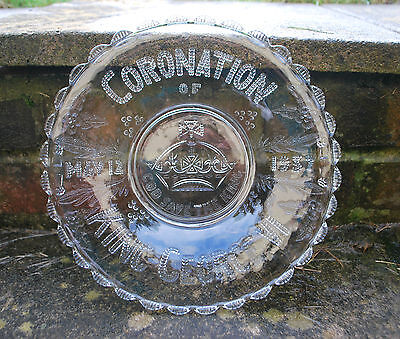 Coronation Glass Bowl George VI - Glass Bowl/Dish 1937 - Vintage Stage Prop   #2 • 7£