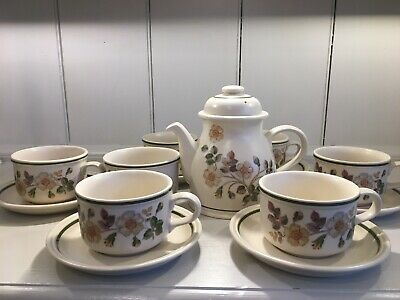 14 ITEMS - MARKS & SPENCER - Teapot, Sugar Bowl, 6 Cups & Saucers Autumn Leaves • 19.75£