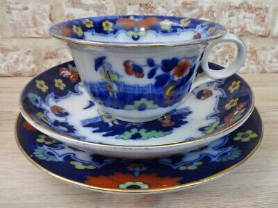 Antique Royal Staffordshire Pekin Large Cup & Saucer Plate Flow Blue • 27.95£