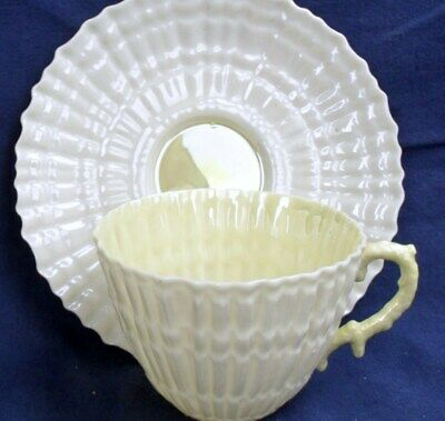 Belleek Ireland LIMPET YELLOW Fine Pottery TEA CUP & SAUCER 3rd Mark • 19.50£