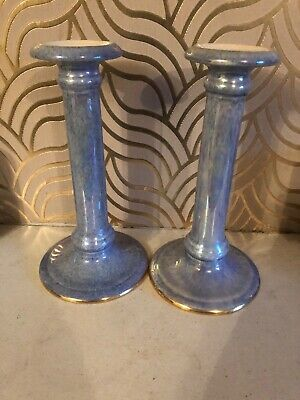 Stunning Pair Of Crown Ducal Mauve Lustre Candlesticks • 29.99£