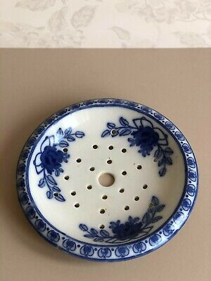 Old Antique Blue Transferware Fruit And Berry Drainer STAFFORDSHIRE SPONGE DISH • 7.95£