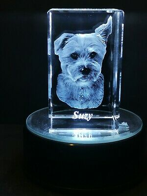 Personalised 3D Laser Etched Crystal Glass. Gift, Special Occasions,Ornaments  • 30£