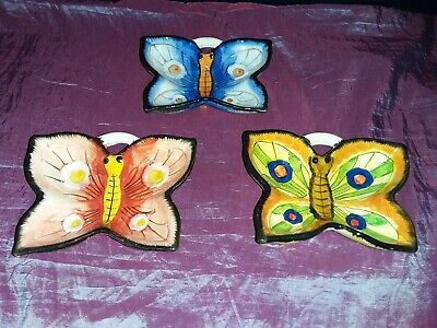 3x Bright Hand Painted Ceramic Butterfly Shape Dishes. - VGC • 10£