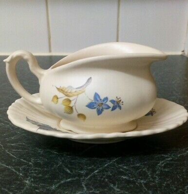 Axe Vale Pottery Sauce Boat And Saucer Floral Vintage Devon • 4£