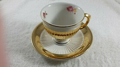 Royal Winton Grimwades White, Gold And Floral Porcelain Teacup And Saucer. 1974. • 14.95£