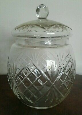 Vintage Antique Hand Cut Crystal Cookie Biscuit Barrell Jar With Lid  • 15£