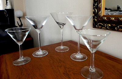 Five Assorted Martini/Cocktail Glasses • 7.99£